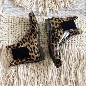 J Crew • animal print rain boots